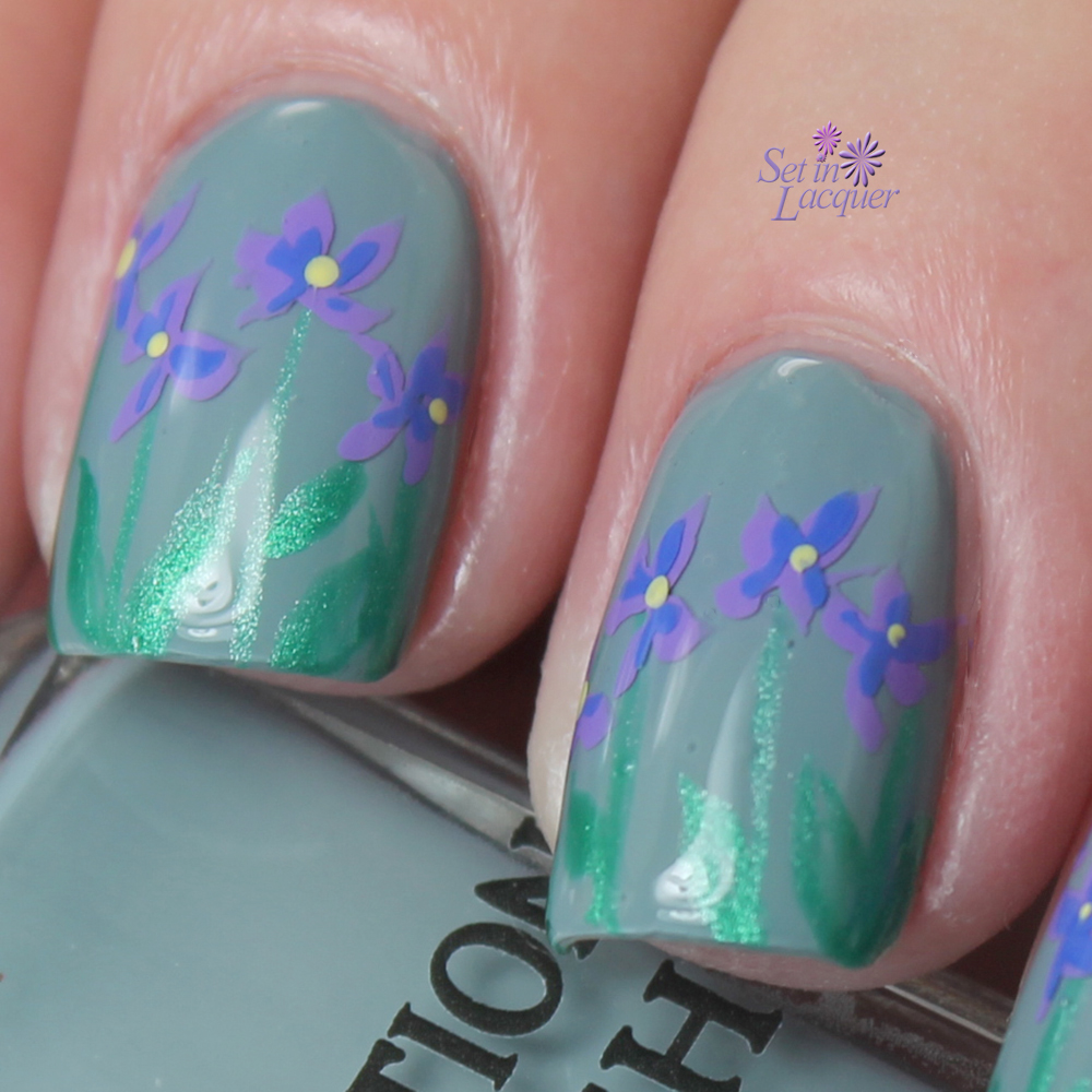"Floral ""layered"" nail art"