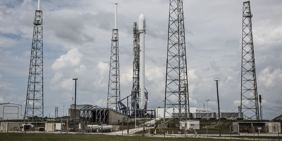 Falcon 9 rocket with Orbcomm satellites on the launch pad. Credit: SpaceX