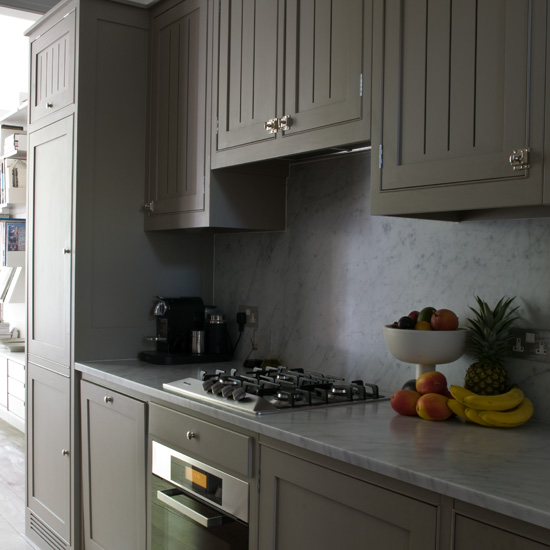 Gray Painted Kitchen Cupboards: Rosa Beltran Design: Affordable Brass Cabinet Hardware