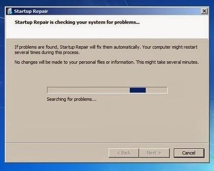 Repair Windows 7 dengan Startup Repair