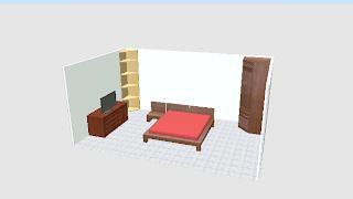 kamar tidur minimalis yang sudah dilengkapi furniture dan elektronik