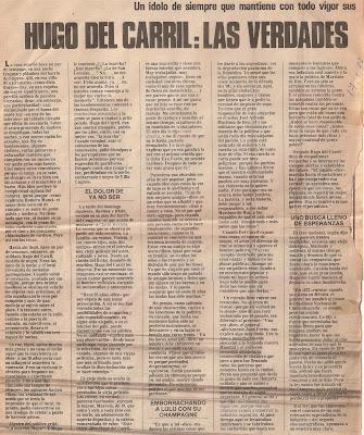 Reportaje a Hugo del Carril a sus 70 años 1 parte