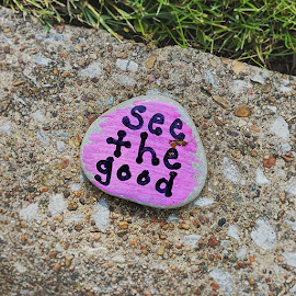 Hope Stones. Quarantine painted stone messages along the curbs.
