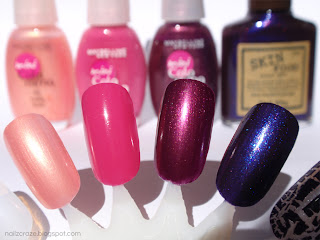 Left to right -Colorama 56 Coral Rose, 94 Ultra Violet, 135 Tart and Skinfood Purple Stone.