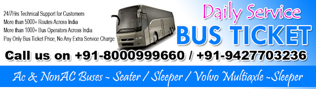 Daily Service Bus Ticketing - 24/7 Hrs Technical Support for Customers, Bus Ticket agent ahmedabad, AC & NonAc Buses - Seater / Sleeper / Volvo Multiaxle Sleeper