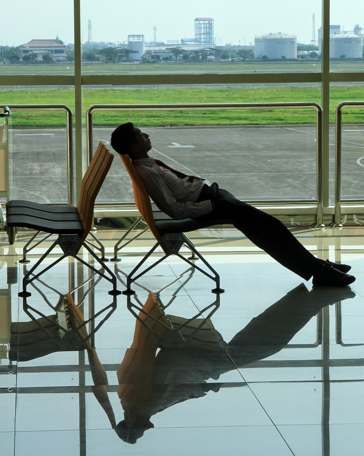 sleeping, airports, surabaya, indonesia,
