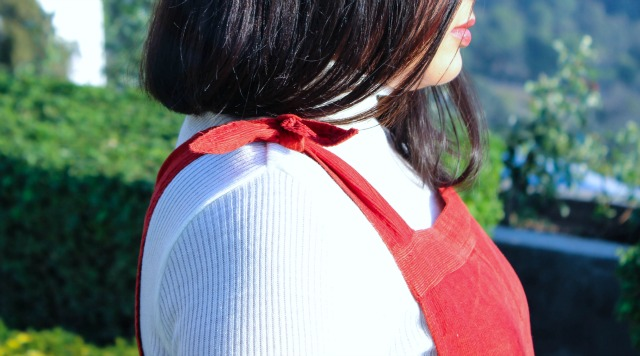 Red Suede Dungaree Dress