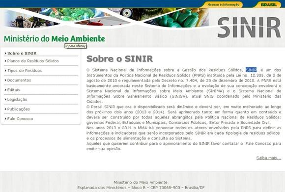 Sistema Nacional de Informações sobre a Gestão dos Resíduos Sólidos (Sinir)