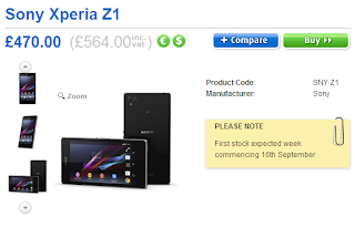 There have been official selling price of Xperia Z1 in Europe, price £564