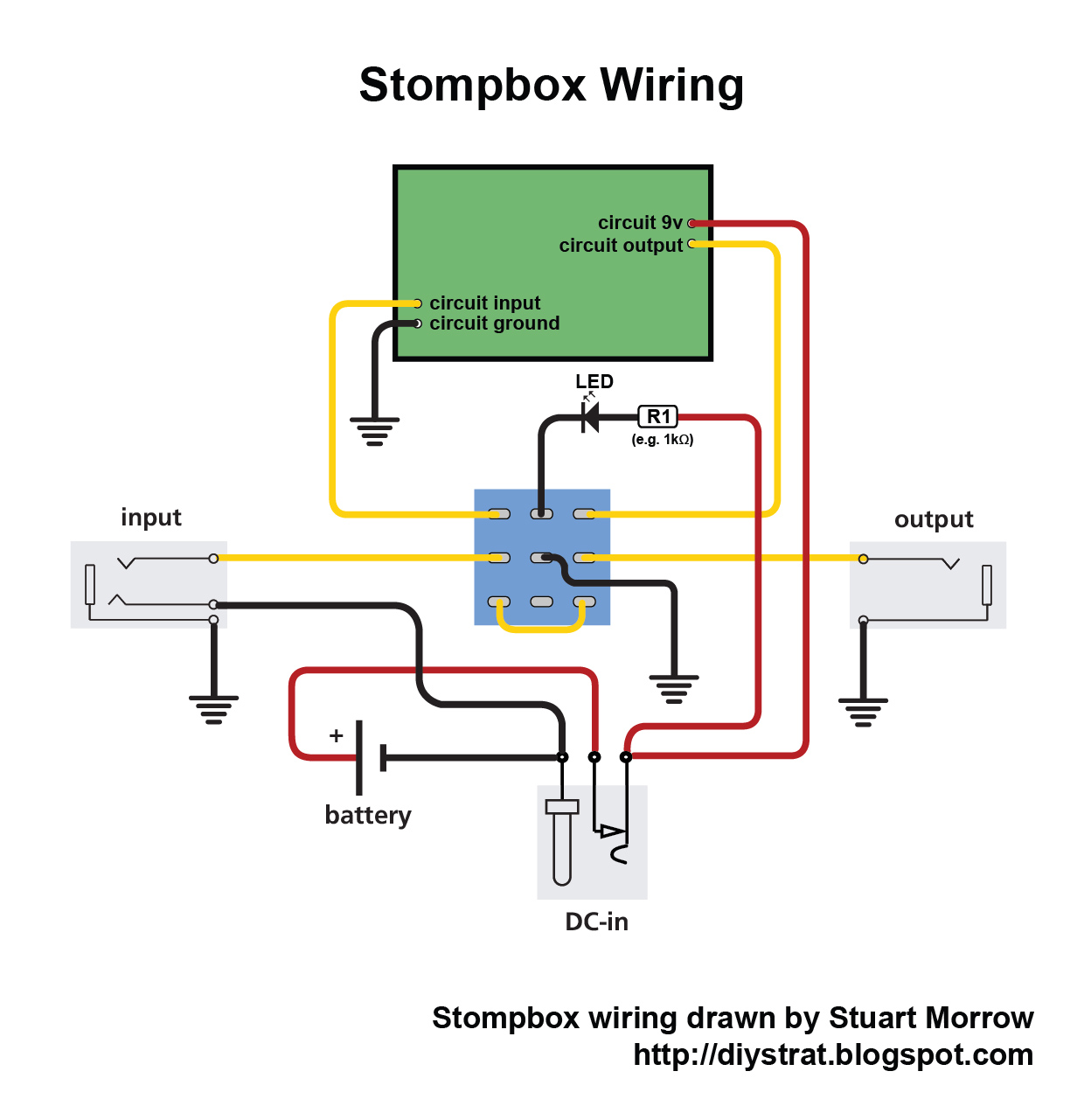 how to wire up a stomp box effects pedal diy strat and other rh diystrat blogspot com Guitar Pedal Switch Wiring Diagrams Overdrive Guitar Pedal Wiring
