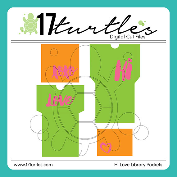 17turtles Digital Cut File Hi Love Library Pocket