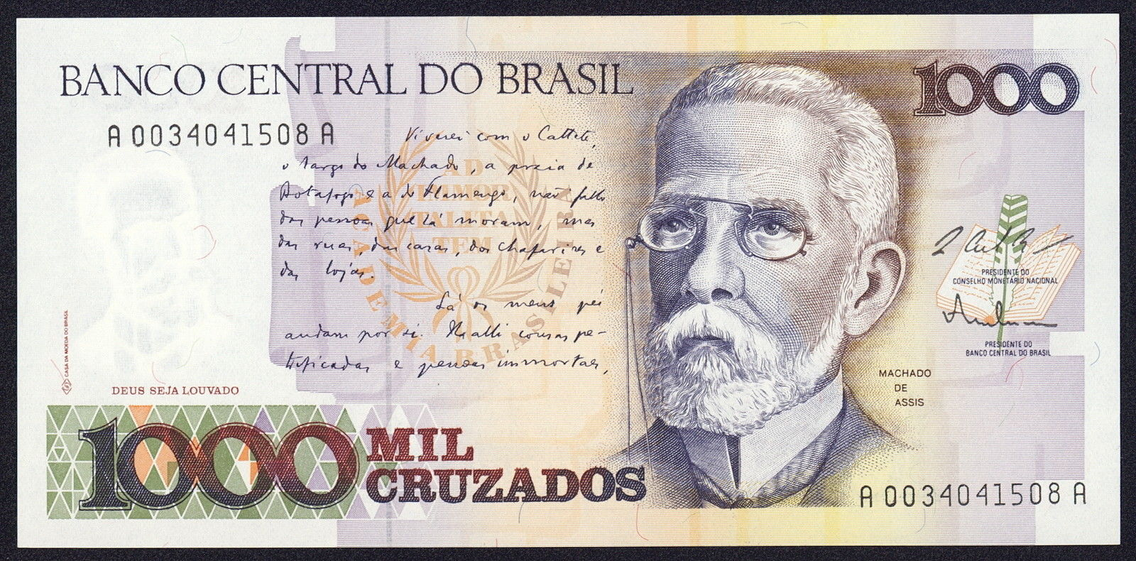Brazil 1000 Cruzados banknote 1987 Machado de Assis World Banknotes & Coins Pictures   Old Money ...