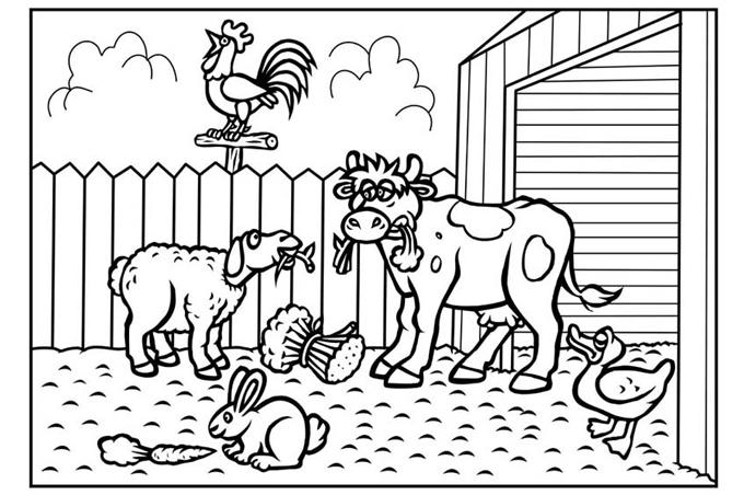 صورة العديد من الحيوانات من المواشي والطيور مفرغة لتلوين الاطفال