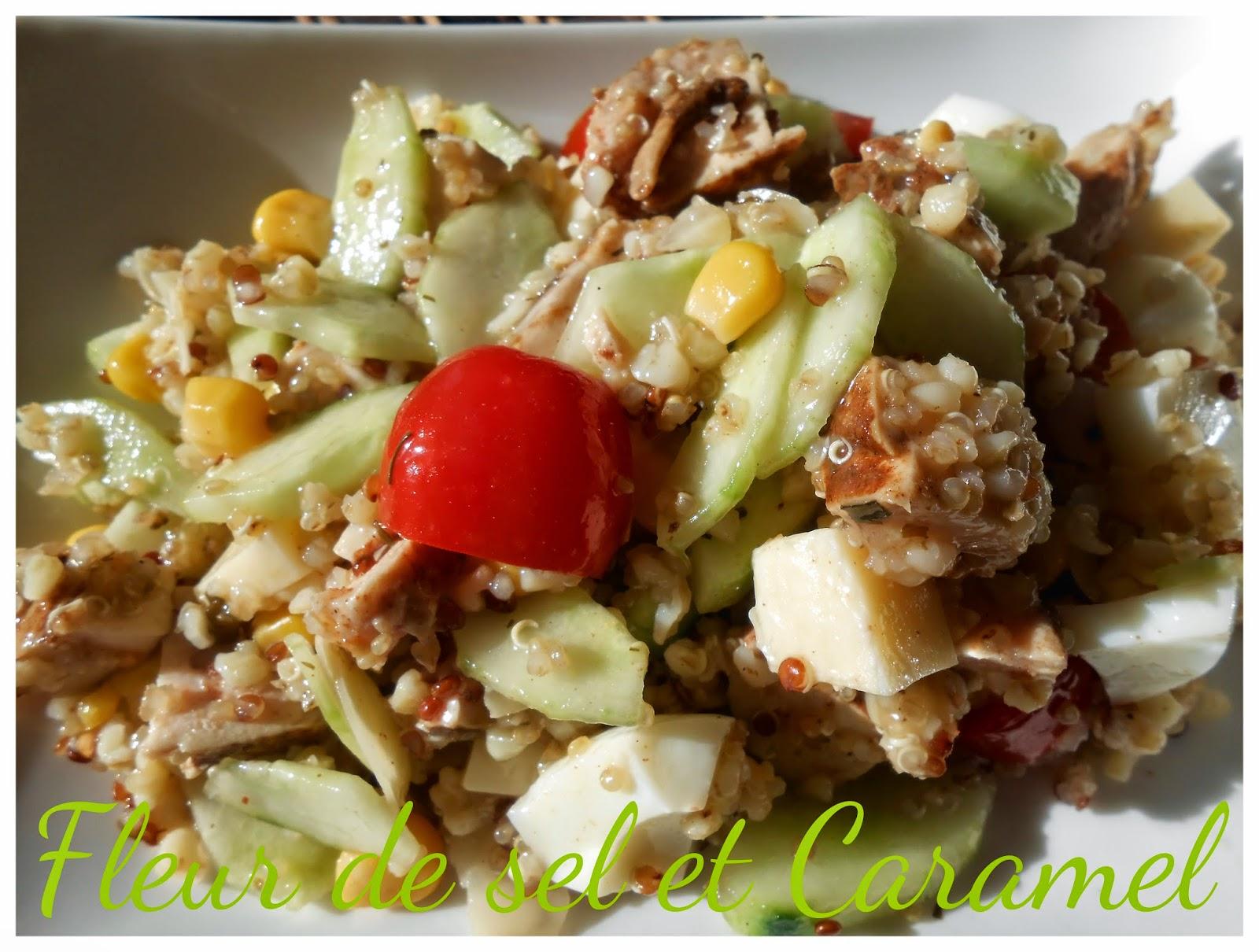 Salade de céréales et poulet au paprika