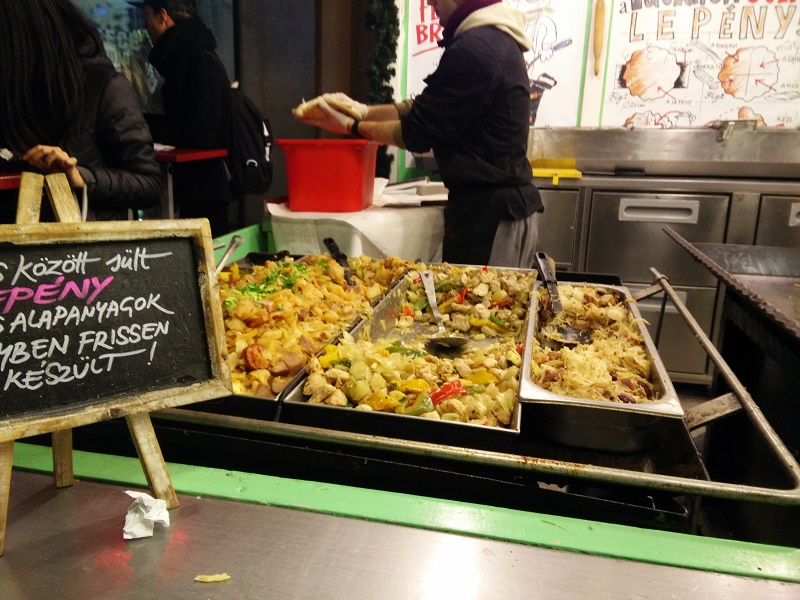 Flatbread fillings at Budapest Christmas markets