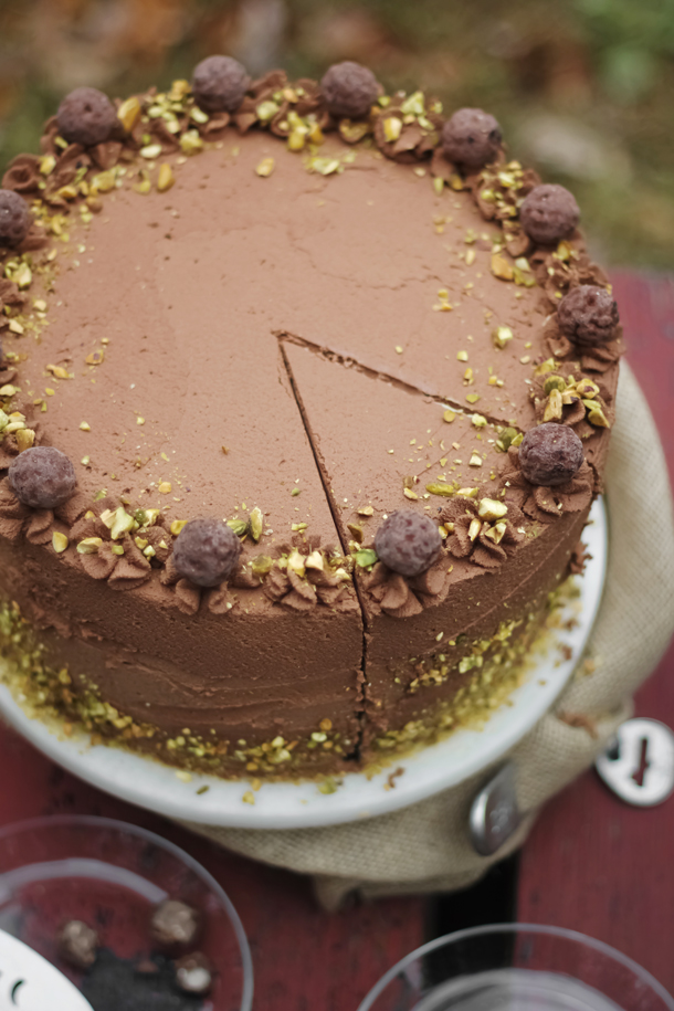 Black Truffle-Pistachio Chocolate Cake