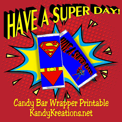 Celebrate a Super Birthday or a Great Day with this Superman Candy Bar Wrapper free printable.  Wrapper fits a 1.5 ounce Hershey candy bar and can be downloaded and personalized for your personal use.