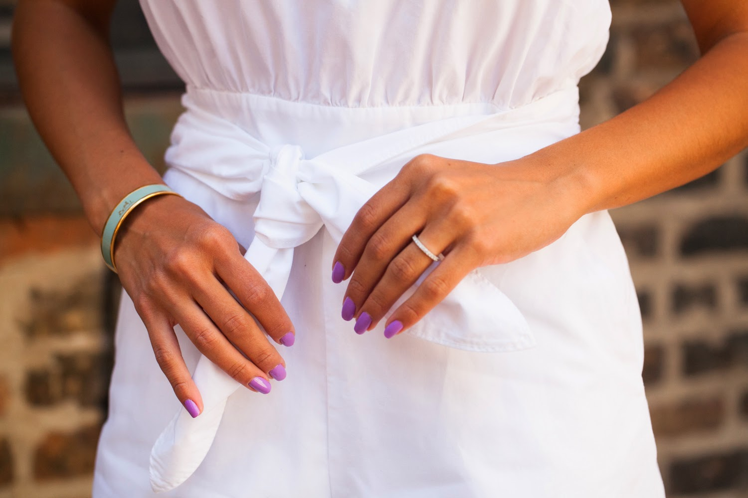 white romper, essie nailpolish