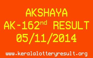 AKSHAYA Lottery AK-162 Result 05-11-2014