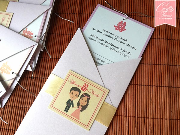 Purple Cartoon Pocket Wedding Card Malay Kad Kahwin