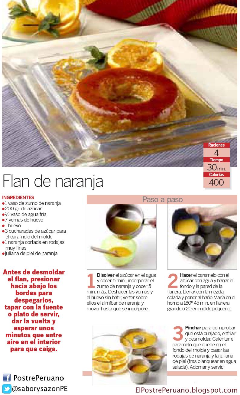 RECETA SENCILLA : FLAN DE NARANJA - RECIPES