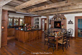 reclaimed barn timbers in kitchen