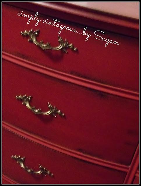 red, emperor's silk, dresser, makeover, chalk paint, brass handles, annie sloan
