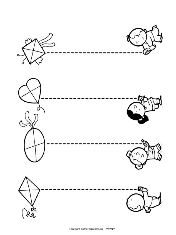 Repasar lineas punteadas para niños de preescolar : FICHAS PARA NIÑOS