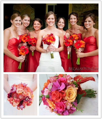 bouquets with all shades of red flowers