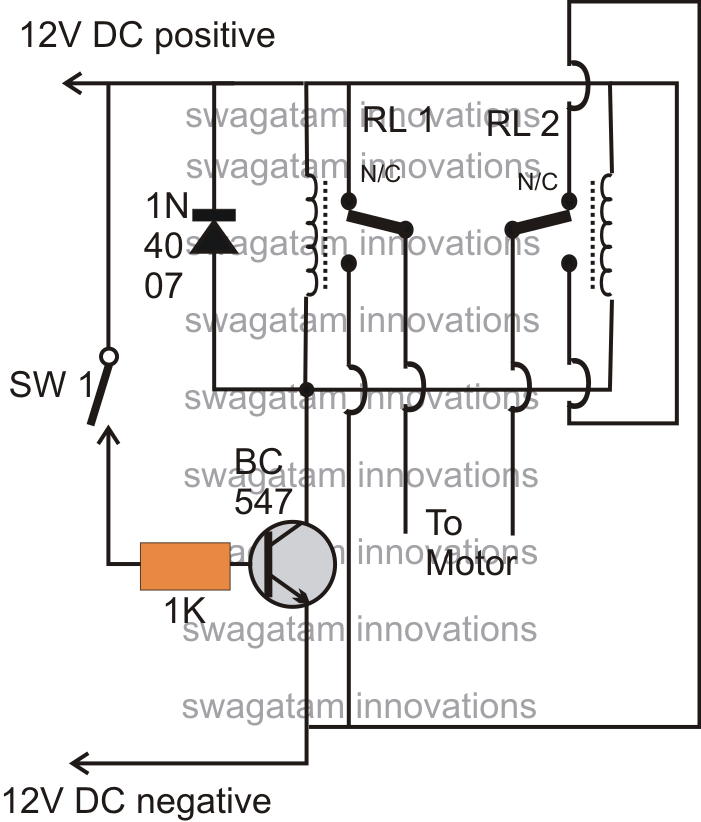 operating a dc motor clockwise  anticlockwise with a single switch circuit
