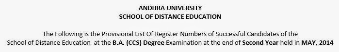 Andhra University SDE BA, Bcom 2nd Year May 2014 results section