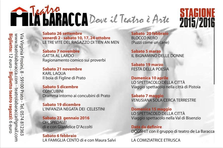 STAGIONE  2015-2016 AL TEATRO LA BARACCA