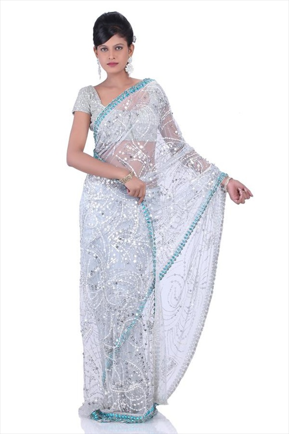 Ivory White Net Saree
