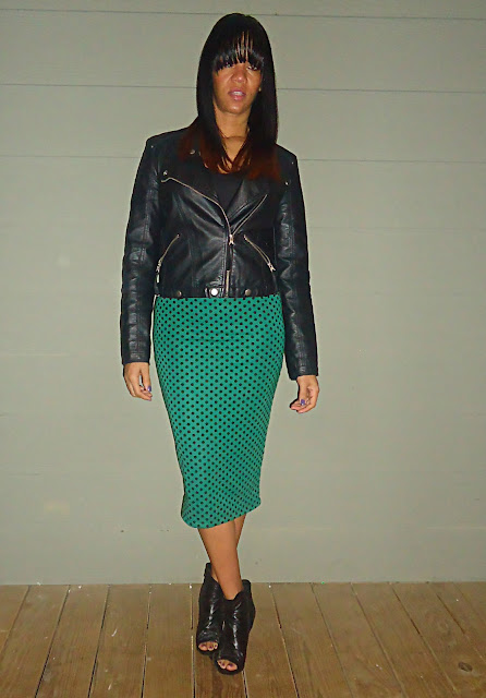 Polka Dot Skirt and Leather Jacket