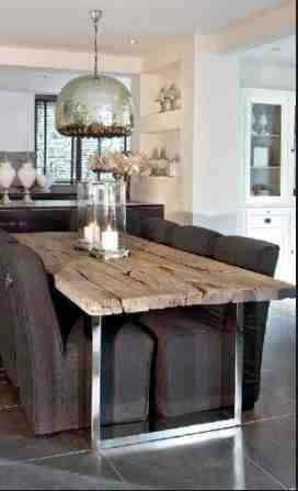 Stół z desek i na chromowanej ramie, stół vintagem stół rustyklany