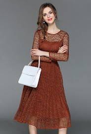 2018 4-Color Long Sleeve Pleated Lace Dress
