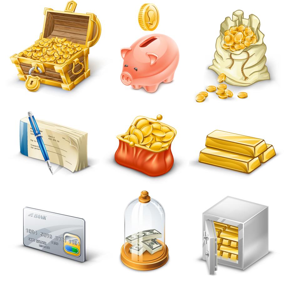 お金に関するアイコン gold coins currency icons イラスト素材
