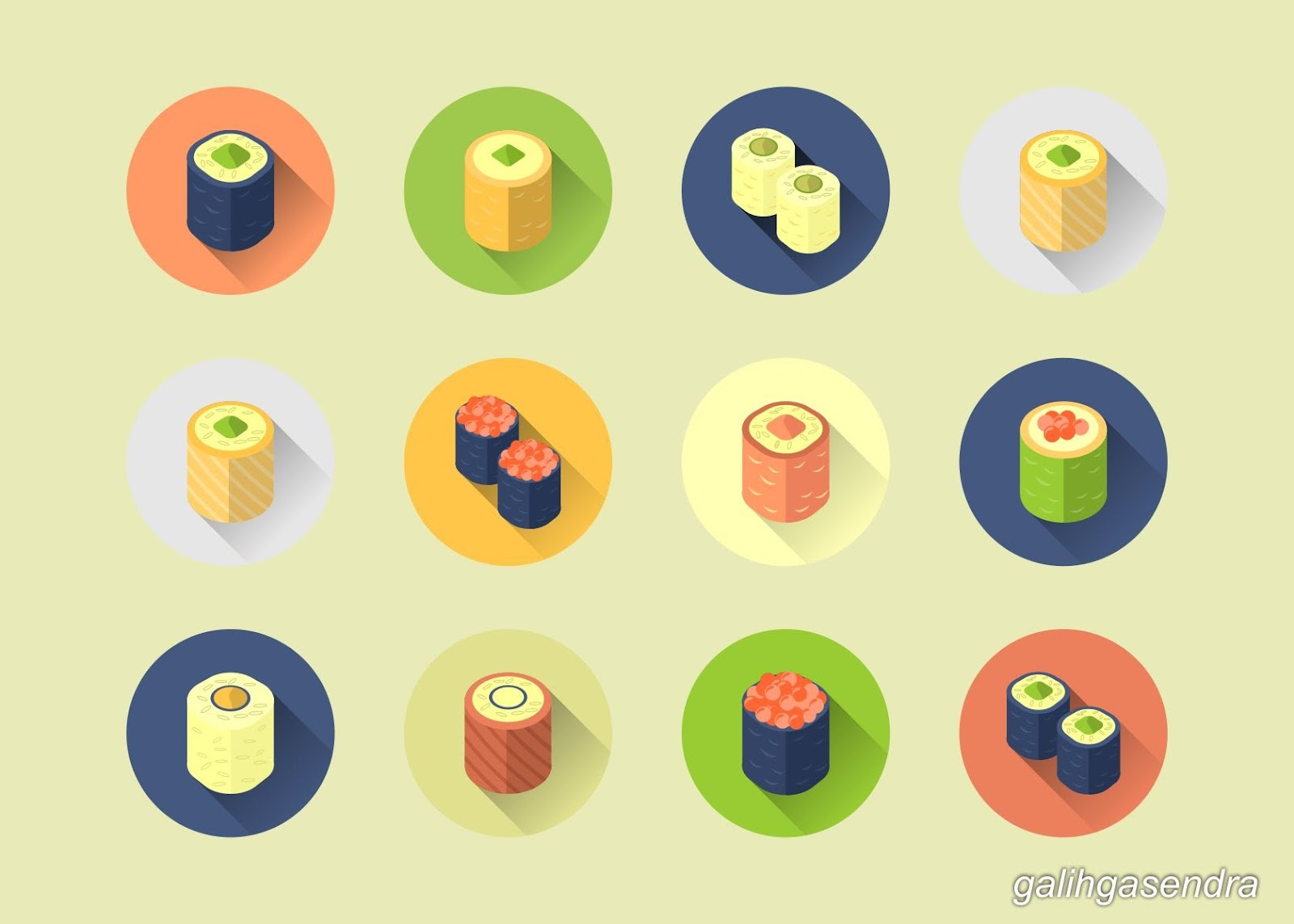 Free Download CorelDraw Vector Flat Design Rolled Sushi Icon