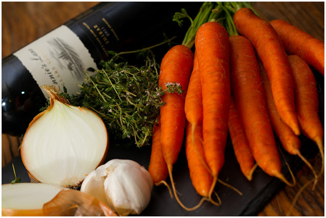 A photograph of some of the Ingredients for a Boeuf Bourguignonne