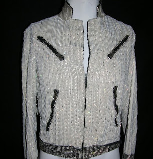 Earth wind and fire disco jacket in silver with black zips