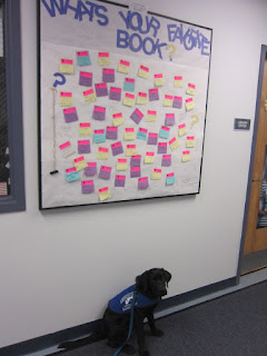 "Coach is sitting on the floor beneath our bulletin board.  The board says, ""What's Your Favorite Book?"""