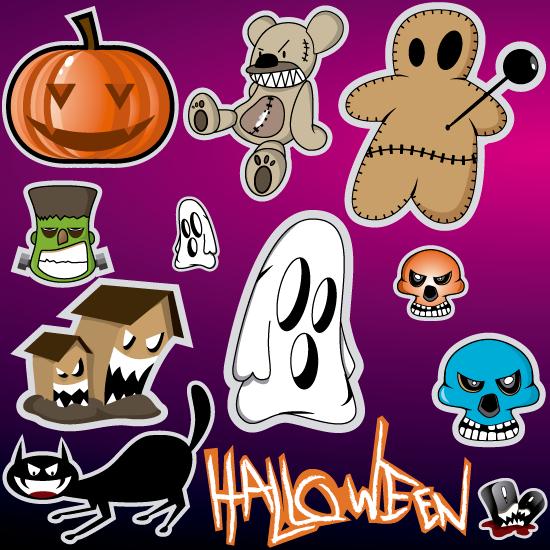 Iconos siniestros tipo cartoon de Halloween