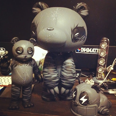 New Monochromatic Panda Bear Custom Figures by Angry Woebots - Veil Specimen 129, Gloomy Bear & Reach Bear Vinyl Figures