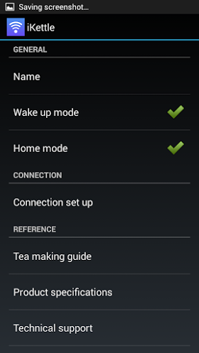 Menkind Wifi iKettle review control panel on phone