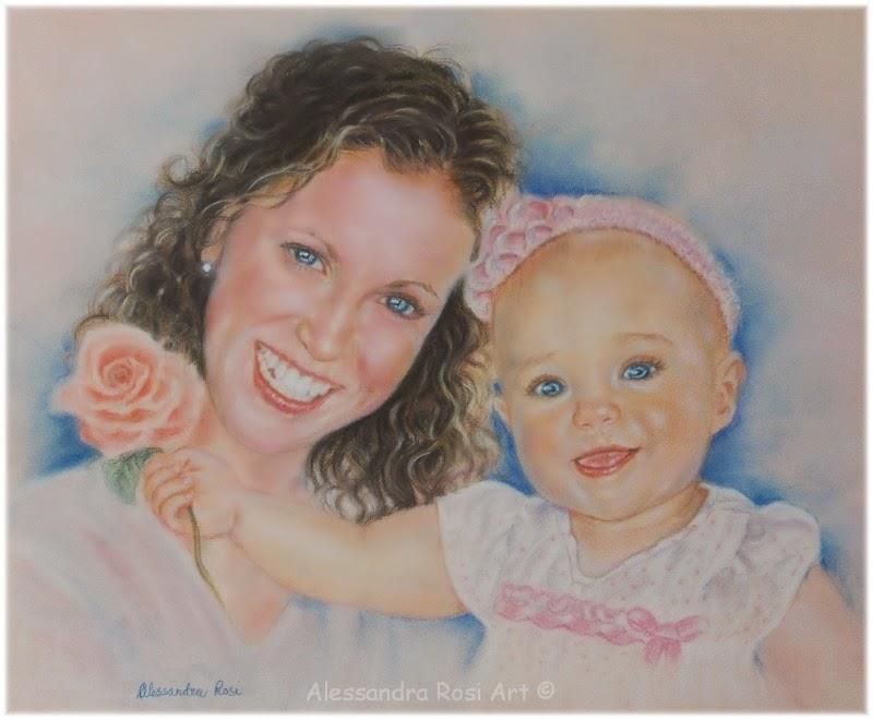 commission family portrait painting, custom pastel portrait, baby portrait from photo