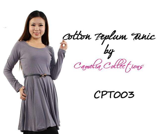 cotton peplum tunic grey