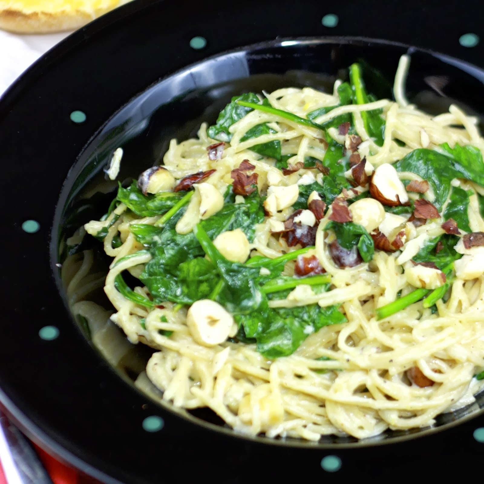 spaghetti with lemon and spinach