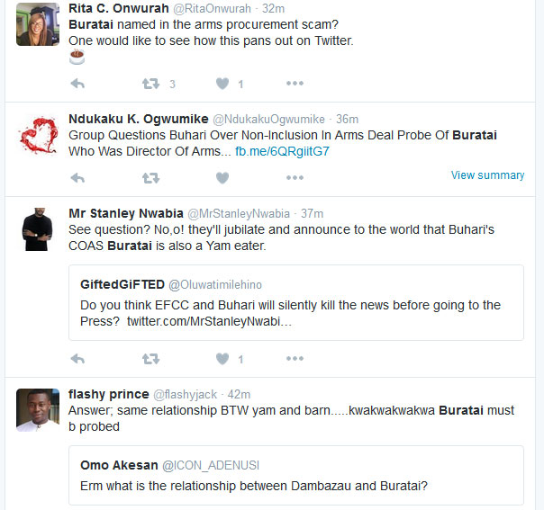 #DasukiGate: Group Wants Buhari To Probe COAS Buratai, Twitter Grumbles (Screenshots)