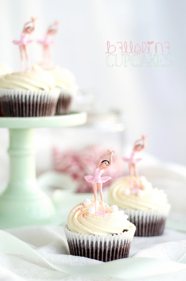 Ballerina Cupcakes with Vanilla Cream Frosting and Peppermint Fudge ...