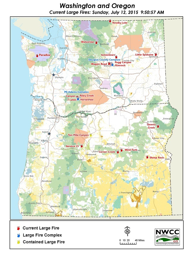 Northwest Interagency Coordination Center: 7/12/2015 Large Fire Map